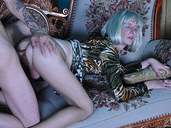 Wigged sissy wears a sexy outfit and pantyhose for some raw gay screwing