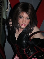 Click here to view the full gallery I can assure that you've never been punished by a tranny Dominatrix like myself and once I'm finished with you you'll still be begging for even more. I'll put you in this dark dungeon of mine and treat you like a dog, making you get on all fours and kiss my tgirl feet, licking them and worshipping them and begging to get at my transvestite dick, but I'll make you wait for as long as it pleases me. You're my slave, not the other way around and if you want to get a piece of this big tgirl cock of mine, I'm going to need to know you've earned it and the best way to do that is to see how much pain your cute tush can take. Why don't I start by giving your behind a firm spanking and see if you yelp like a little girl or groan like a sissy slut. I'll spank you harder and harder until you get it right and when your ass is red raw, I'll go to work on that cock of yours. I'll pull it and pinch it, slap it around and if you're very lucky, put it inside my tgirl mouth and suck it hard. Do you like the feel of teeth nibbling on your cock? Because that's what I'm planning to do to you. I'll give you pleasure and pain at the same time and bring you to the brink of what you can handle before I stop, teasing you over and over again. I want those balls of yours nice and full before I let you have a piece of my tgirl tush, I want to know that a huge load is going deep inside me and dripping out of my transvestite behind. This is why you have to take so much punishment beforehand, but you can handle that can't you, you're not a little sissy slut, you're just my fuck toy waiting to be used and abused by me. I think you're ready to get inside me now, don't you? Bring that stiff cock over here and fill me up, I want it hard, fast and filthy! Join Kirstys TG Playground Today! Join Kirsty today and see her sexy solo content and full on hardcore groupsex and orgys. This TG Slut just can't get enough hard cock!