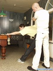 Muscle gays in sheer-to-waist pantyhose know the best way to play billiard